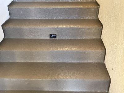 Completed pli-dek stairs at drew court apartments fresno california